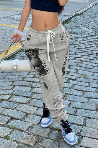 back_Mid Waist    Sweatpants  Light Grey Sweatpants