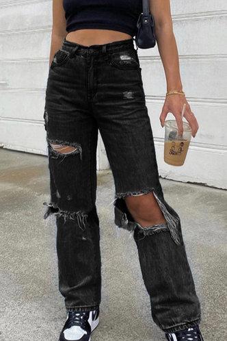 back_Fredrica Black Distressed Jeans