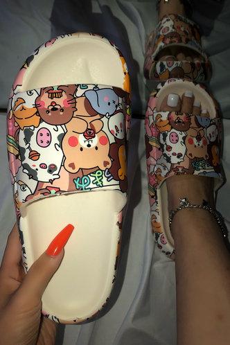 back_Flat Open Toe Multicolor Slides & Flip Flops