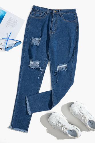 back_Alba Elaine Wash Blue Ripped Knee Jeans