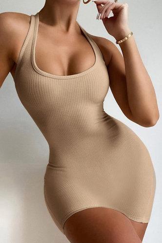 front_Janet Edwina Khaki Bodycon Halter Dress