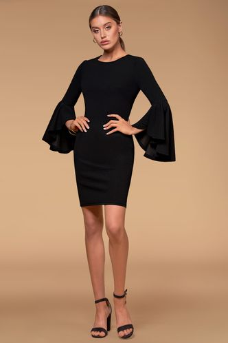 front_Spring Black Mini Dress