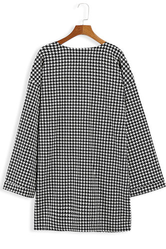 back_Alexia Elaine Black And White Houndstooth Open Front Coat