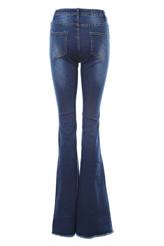 back_I'll Call You Dark Wash Flare Leg Jeans
