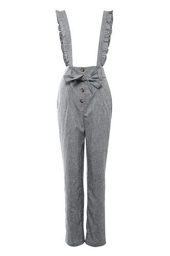 front_Take You There Grey Ruffle Straps Pants