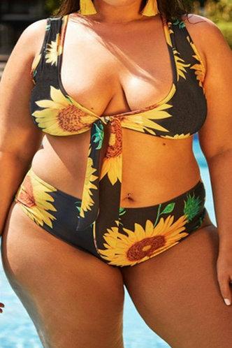 front_Rosemary Elma Sunflower Print Plus Bikini