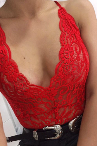 back_Darlene Elvira Red Bodysuit