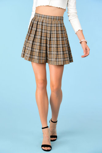 front_Butterscotch Khaki Plaid Skirt