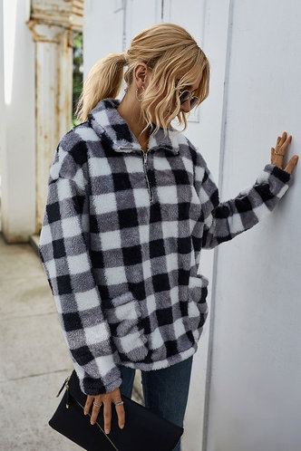 front_Valora Black And White Plaid Pullover