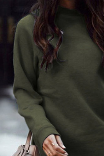 back_Above Knee Round Neck Regular Sleeve Army Green Dresses