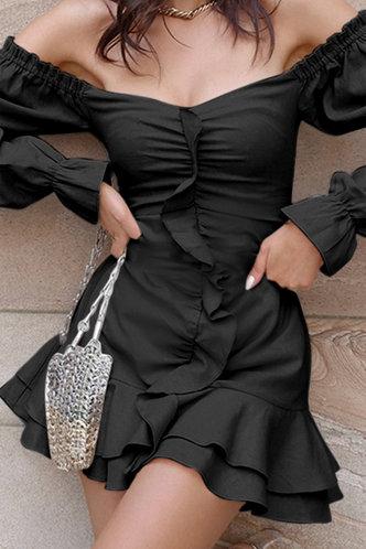 back_Cheryl Eartha Black Ruched Dress