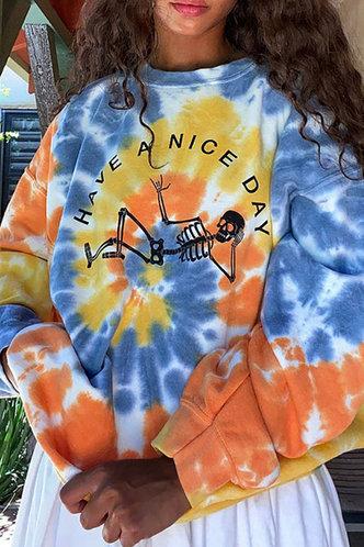 front_Vacation Street Crew Neck All over print Tie Dye Sweatshirts & Hoodies