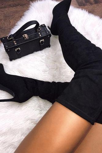 front_Andromache Eudora Black Stretch Boots
