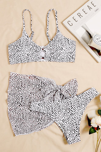 front_Melanie Elsie Black And White Polka Dot Bikini Set