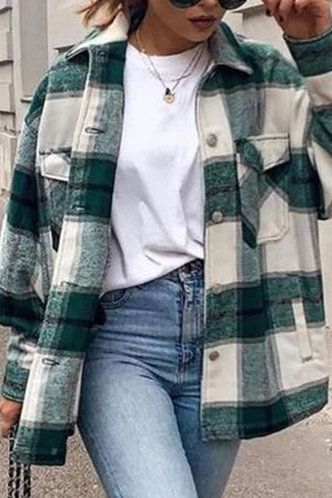 back_Casual Preppy Plaid Green And Beige Outerwear