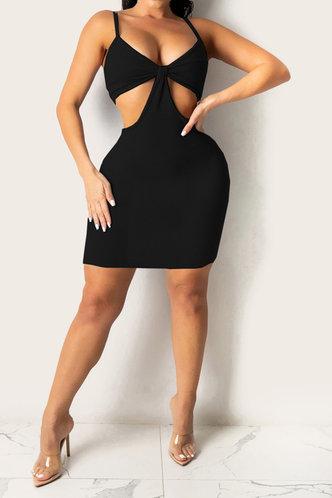 front_Frederica Eleanore Black Plus Cutout Bodycon Dress