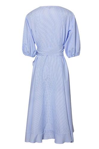 back_Sweetness Baby Blue Striped Ruffle Dress