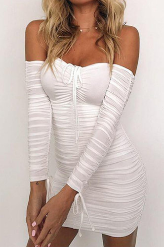 front_Kathy Emily White Off Shoulder Ruched Bodycon Dress