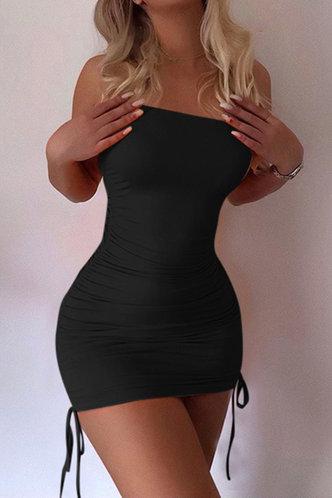 front_Libby Elizabeth Black Knot Side Tube Bodycon Dress