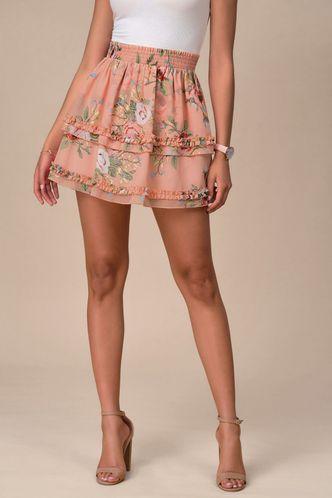 front_Paris Romance Blush Floral Print Skirt