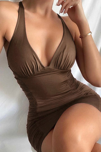 front_Shopping Bar/Nightclub Party Sleeveless Brown Dresses
