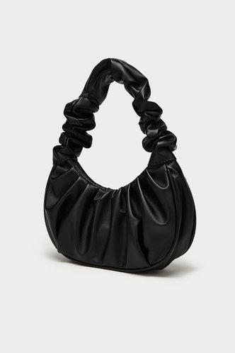 back_Solid Color Black Shoulder Bags