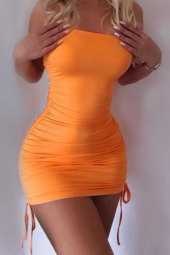 front_Libby Elizabeth Orange Knot Side Tube Bodycon Dress
