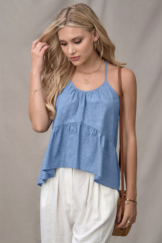 front_Breeze The Day Denim Blue Tank Top