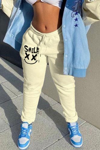 front_Mid Waist Graphic Beige Pants