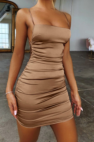 front_Vacation Bar/Nightclub Party Beach Sleeveless Off the Shoulder Square Neck Khaki Dresses