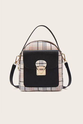 front_Helen Marist Black And Plaid Bagpack