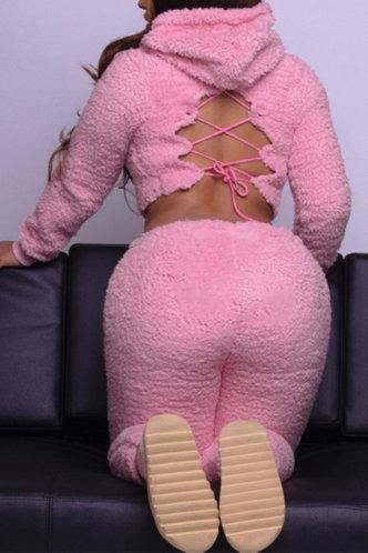 front_Plain Lace Up Pullover Pink Pants Sets
