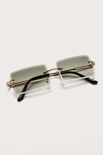 front_Summer Eleanore Emerald Green Metal Frame Tinted Lens Sunglasses