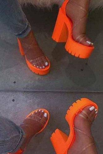 back_Cora Emma Orange Chunky Heeled Sandals