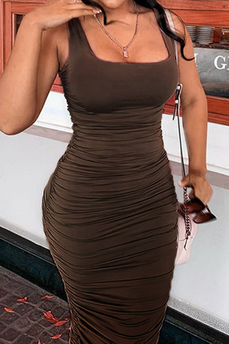 back_Norene Elma Brown Bodycon Ruched Dress
