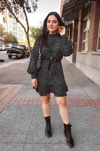 front_Downtown Black Polka Dot Ruffle Hem Dress