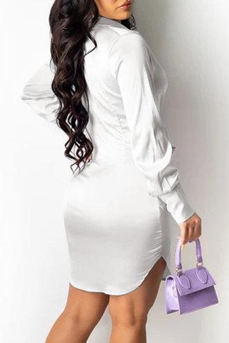 back_Clemmie Eudora White Plunging Neck Tie Front Dress