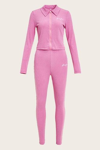 back_Letter Print Zipper Up Pink Pants Sets