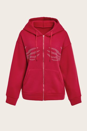 back_Street Hooded Collar Graphic Print Drawstring Red Outerwear