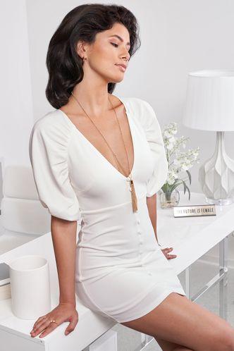 front_Bubbly White Mini Dress