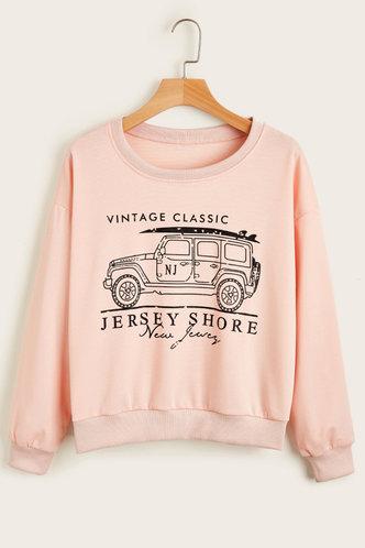 front_Emeline Casual Baby Pink Sweatshirt