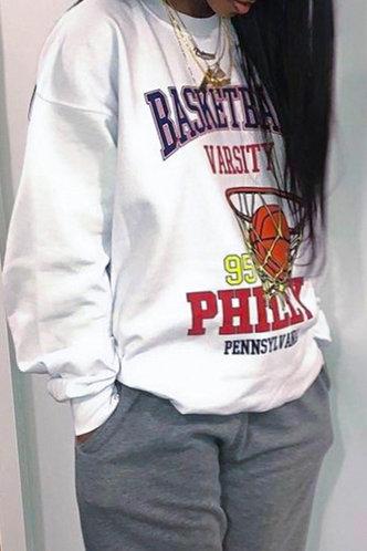 back_Street Chic  Loose White Plus Size Sweatshirts & Hoodies