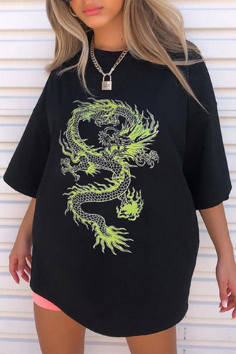 front_Albertine Edith Black And Green Chinese Dragon Print Tee