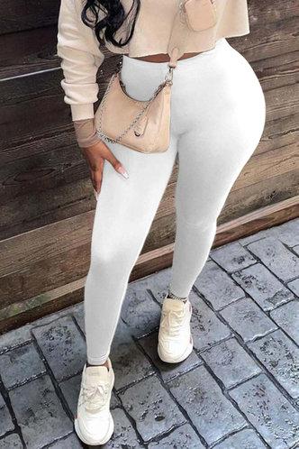 back_High Waist Pencil Pants White Pants