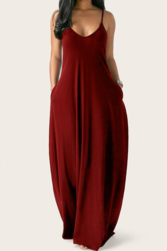 front_Daily Sleeveless Scoop Neck Red Wine Plain Dresses