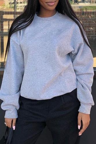 back_Vacation Street Crew Neck Light Grey Sweatshirts & Hoodies