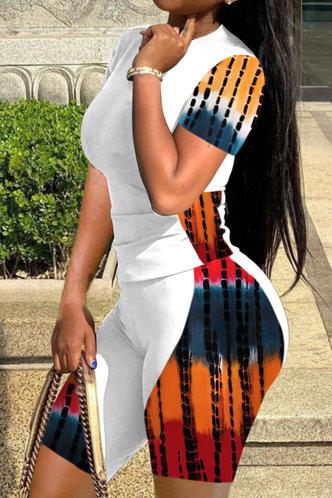 front_Stella Eunice White And Tie Dye Plus Size Shorts Set