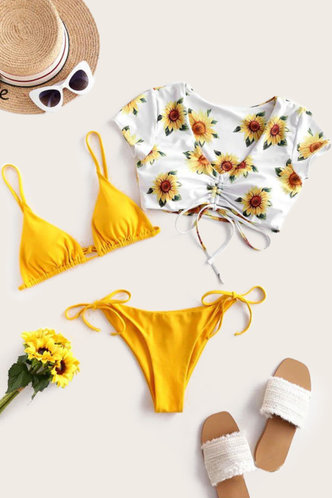 front_Vivien Edith Yellow And Sunflower Print Set