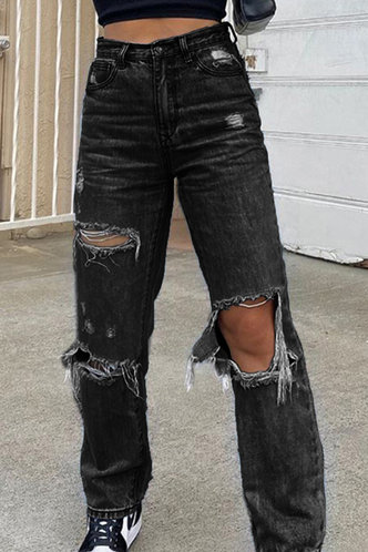 front_Fredrica Black Distressed Jeans