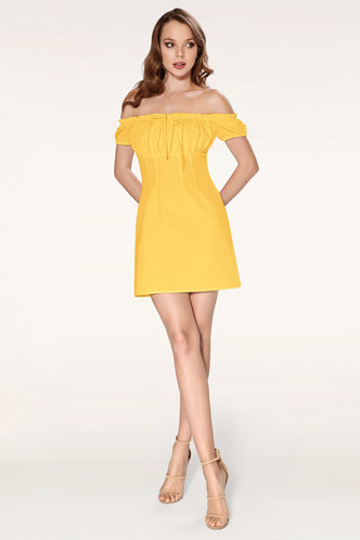 front_Marina Yellow Mini Dress